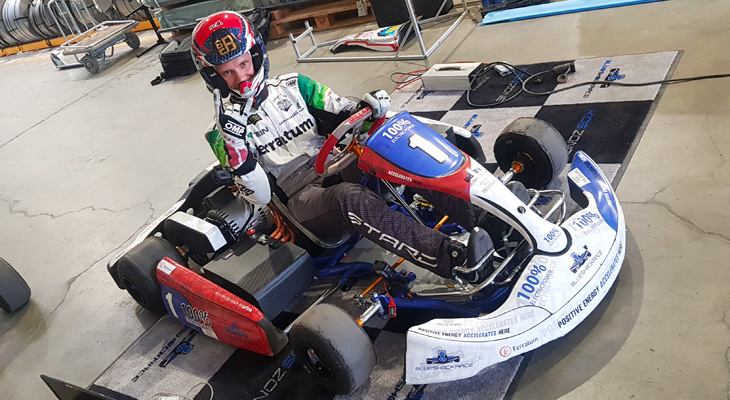 Janis Baumanis racing with electric racing kart