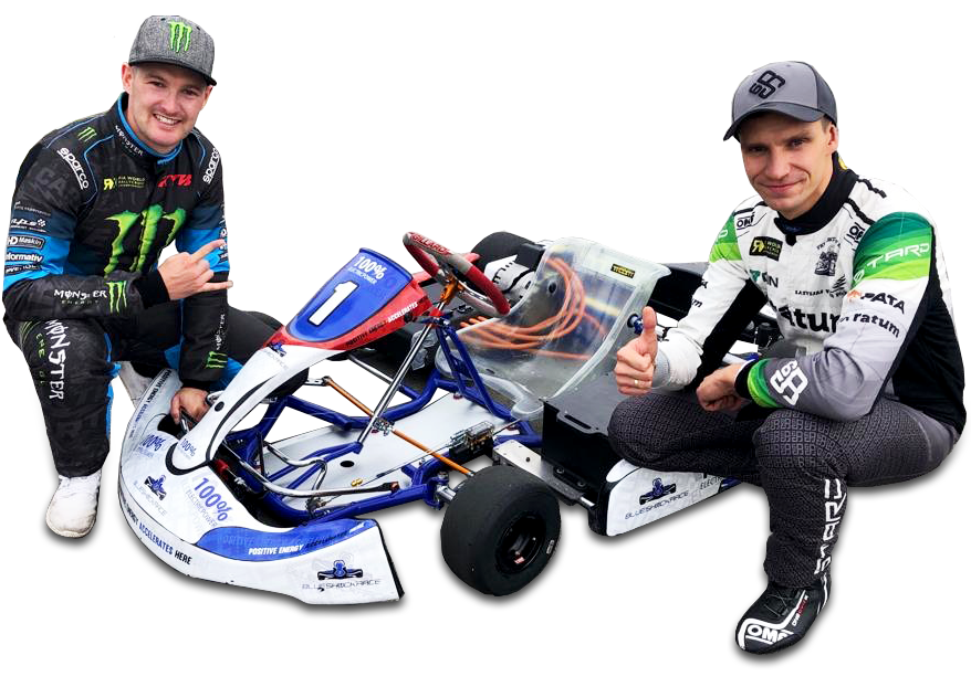 Andreas Bakkerud electric racing kart blue shock race