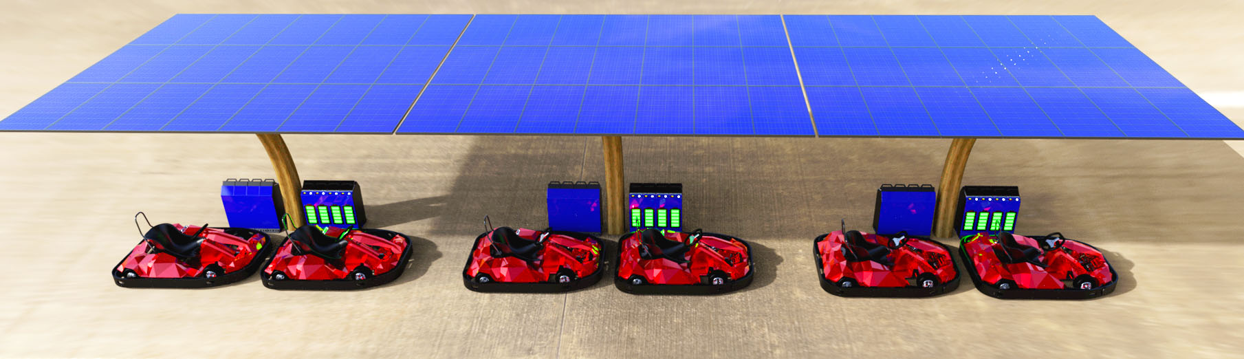 Solar energy system for electric karts for outdoor