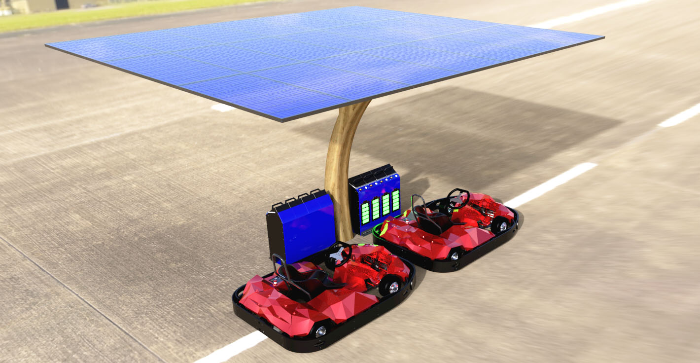 Solar energy system for electric karts outdoor tracks