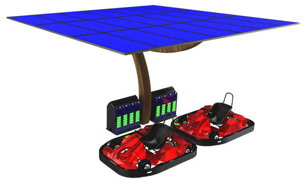 Solar panel charging for electric karts