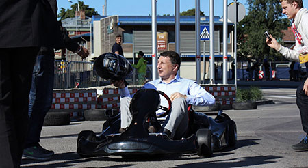 President of Latvia Raimonds Vejonis electric kart