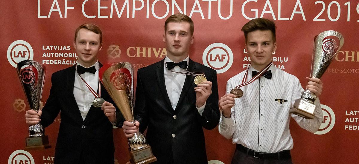 Latvian electric kart championship winners - Dreimanis, Irbe, Veiksans